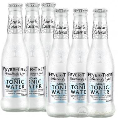 6 bottles of Fever Tree Refreshingly Light Indian Tonic Water